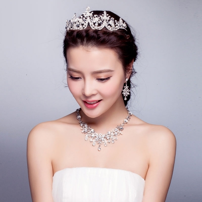 Brudklänning Tillbehör Imperialistiskt Krönar Huvudbonad Halsband Örhängen Bröllop  Smycken Kit 7f4a28e550b9a
